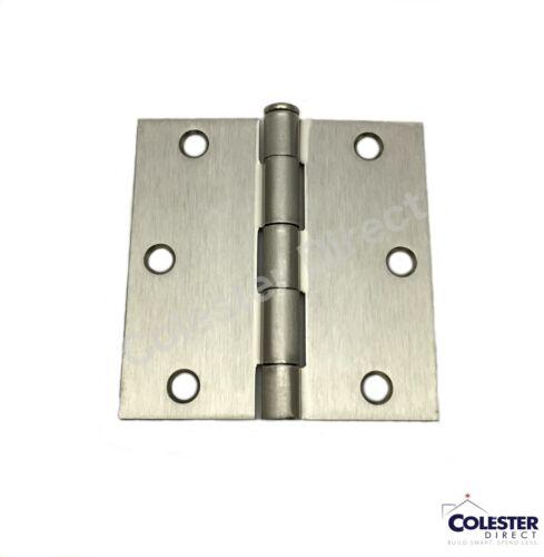 "Satin Nickel Interior Door Hinge 3.5/"" with Square Corner 3 1//2 inches"