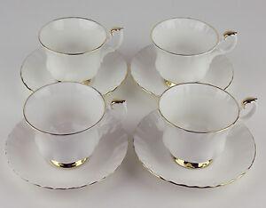 Set-4-x-Teacups-amp-Saucers-Royal-Albert-Val-D-039-or-dor-vintage-bone-china-England
