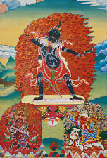 "RARE! 14"" BLESSED SCROLL TIBETAN THANGKA: BBUDDHISTS PROTECTOR GODDESS, EKAJATI"