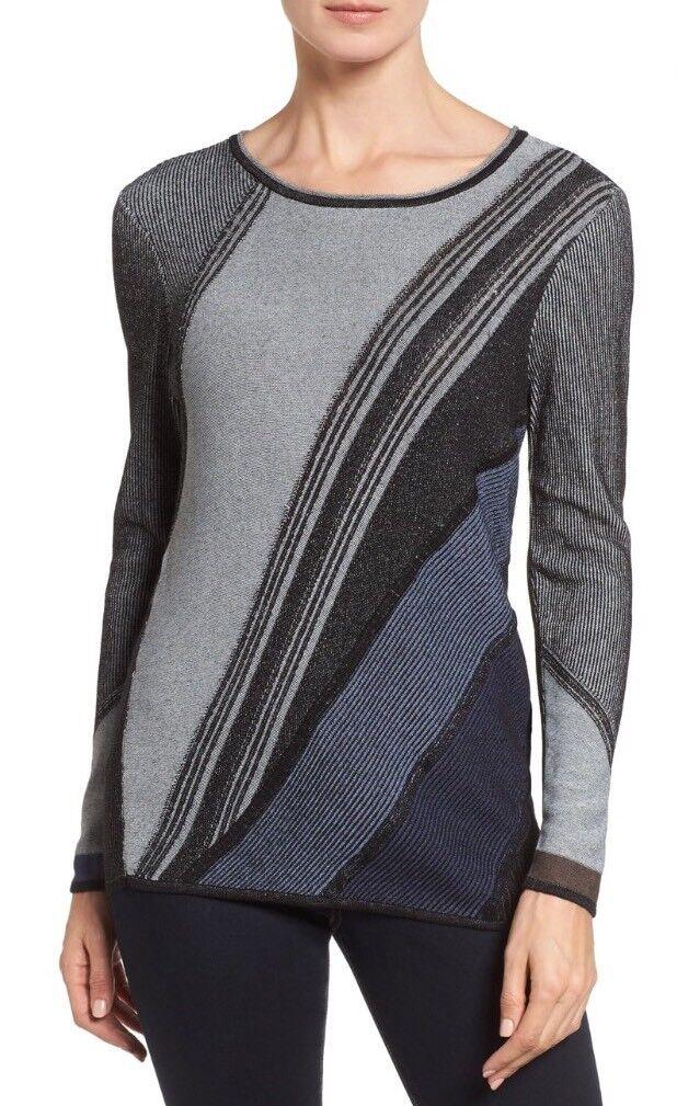 New NIC + ZOE Woherren Blau Horizon Knit Top Größe Medium Stunning Pattern