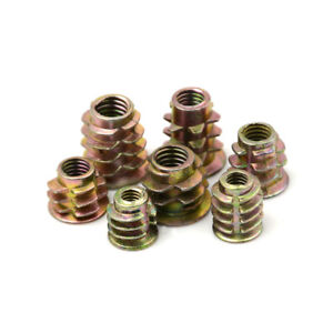 50Pcs-M4-M5-M6-Zinc-Hex-Drive-Head-Screw-Insert-Nut-Threaded-For-Wood-GNCA