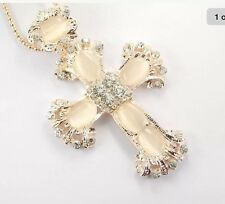 Betsey Johnson Necklace Opal Cross With Crystals Bling Classy Religious Devout