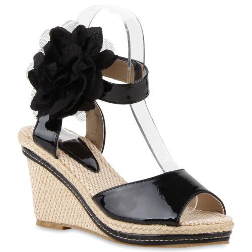 Damen Keilsandaletten Sommer Schuhe Keilabsatz Sandaletten High Heels 74860 Top