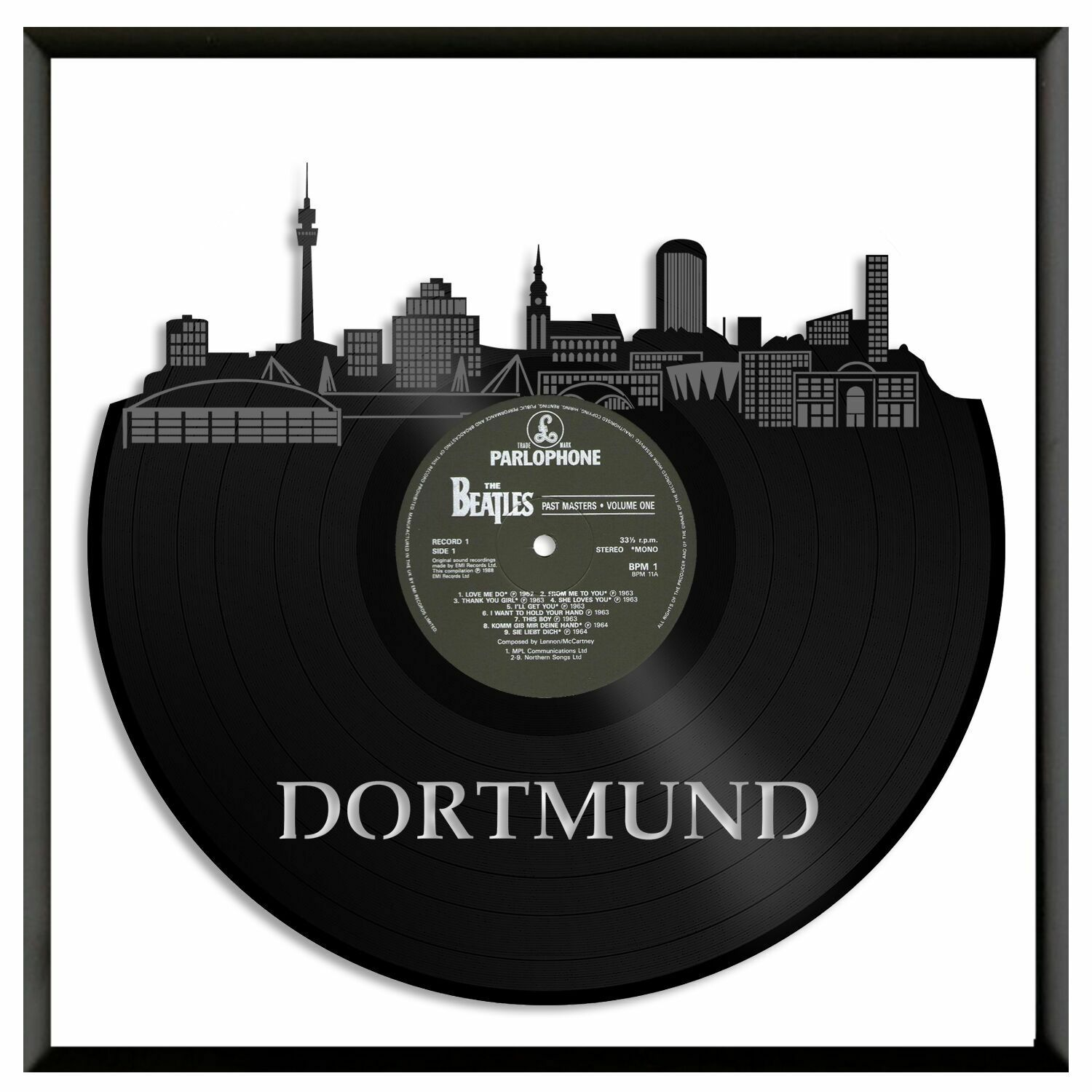 Dortmund Germany Vinyl Wall Art Skyline Record Independent City Home Decor Frame