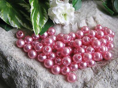 100 Wachsperlen, 6 mm in dunklem rosa, dekorieren Schmuck und Perlen basteln