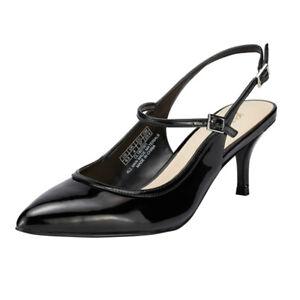 Women-039-s-Low-Kitten-Heel-Stiletto-Pointed-Toe-Slingback-Party-Pumps-Black-Size6-5