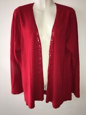 Croft & Barrow Woman Cardigan Size 1X Red Drape-front Sequin Trimmed
