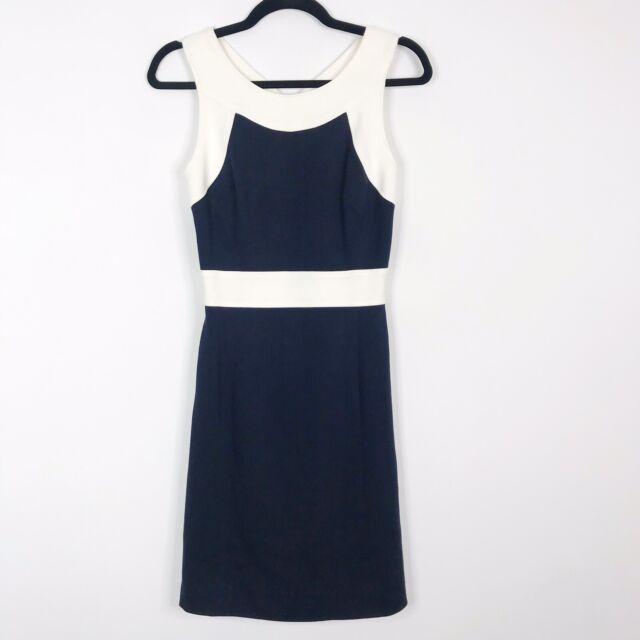 Milly P XSmall XS Keyhole Color Block Ponte Knit Sheath Dress Navy Blue Cream