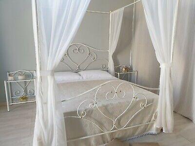 Letto matrimoniale in ferro battuto con baldacchino Sogno bianco decorato oro