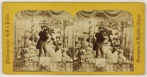 Scena Da Genere il Poeta Parigi Francia Foto Stereo Th2n3 Vintage Albumina c1860