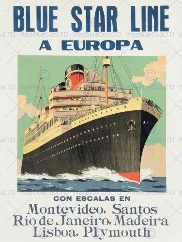 ADVERTISEMENT TRAVEL CRUISE BLUE STAR LINE EUROPA SHIP ART PRINT POSTER BB7316