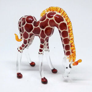 BLOWN-GLASS-Giraffe-FIGURINE-Animal-Themed-Collectible-MINIATURE-HANDMADE
