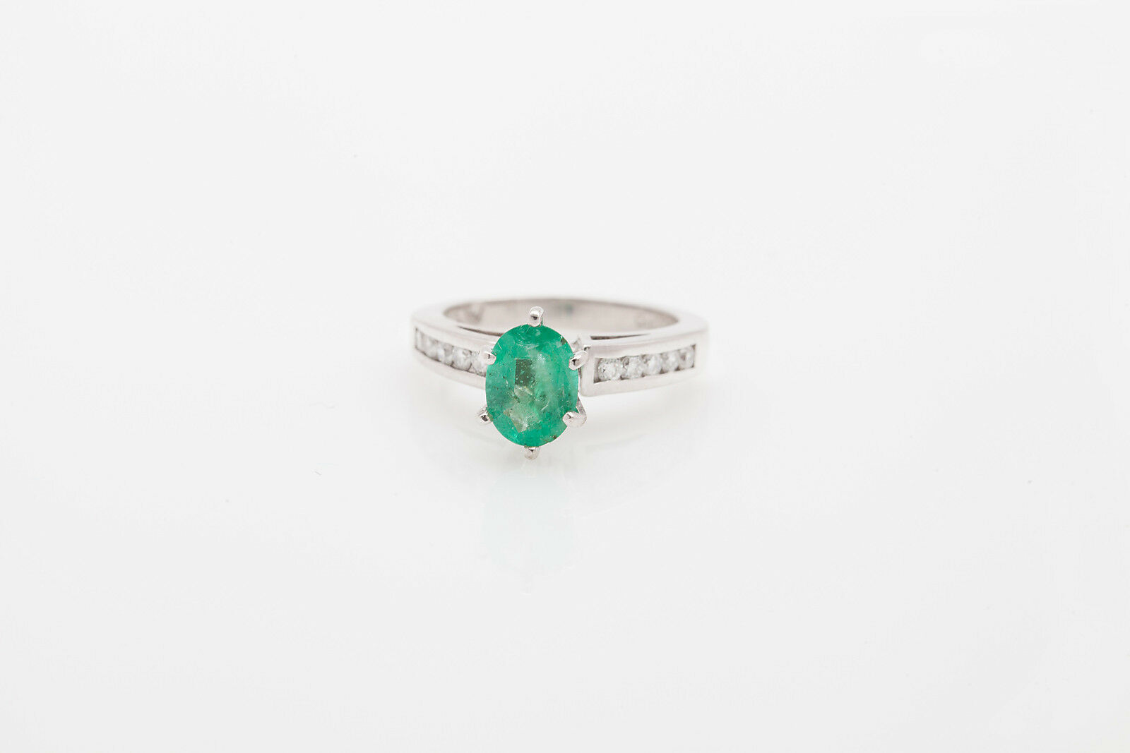 7000 2.50ct Colombian Emerald Diamond Platinum Palladium Wedding Ring