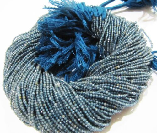 Natural Kyanite 2mm Roundelle Faceted Beads Strand 13 inch micro Size beads .