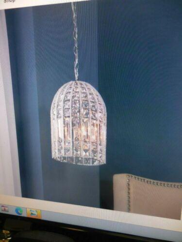 """Allen Roth 3-Light Kavanah 17/"""" Chrome Glam Crystal Bell Pendant-Model #B10112"""