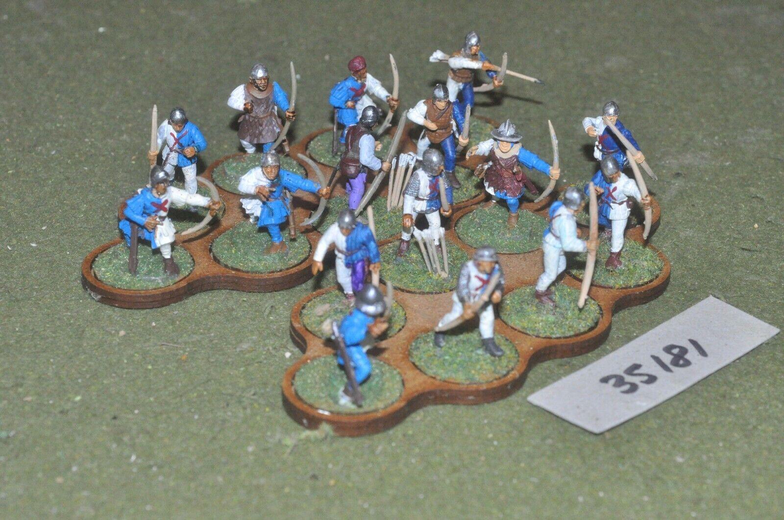 25mm medieval   burgundian - archers (plastic) glued in 16 figures - inf (35181)