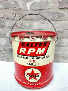 1950s Vintage Caltex RPM H.D. SAE 30 Motor Oil Tin Bucket Automobile U.S.A