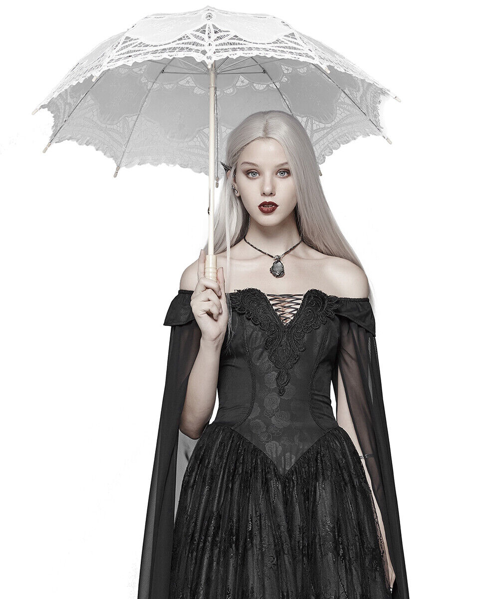 Punk Rave Womens Gothic Parasol Umbrella White Lace Steampunk Lolita Victorian