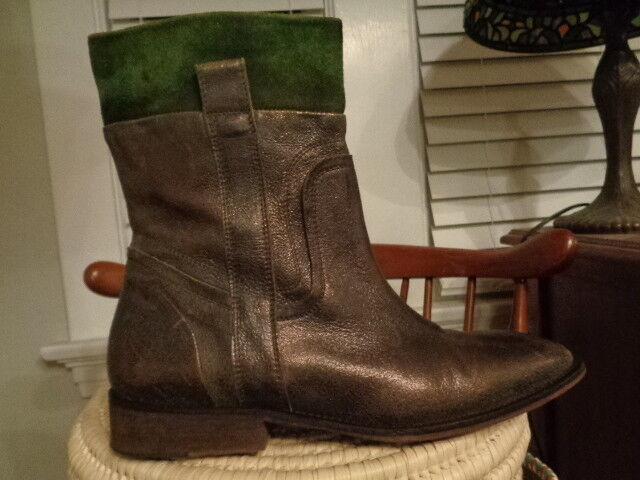 DONALD J. PLINER bronzy 100% leather & suede western ankle boots  men's 9 M