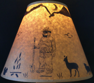 Details About Smokey Bear Lamp Shade Rustic Parchment Paper 12 Clip On Lodge Log Cabin Decor