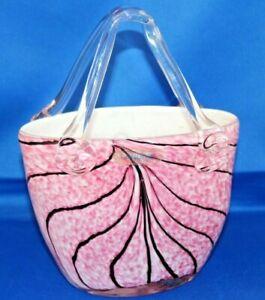 Beautiful-Laguna-Art-Glass-Handbag-Designer-Vase-Pink-with-Black-Detailing