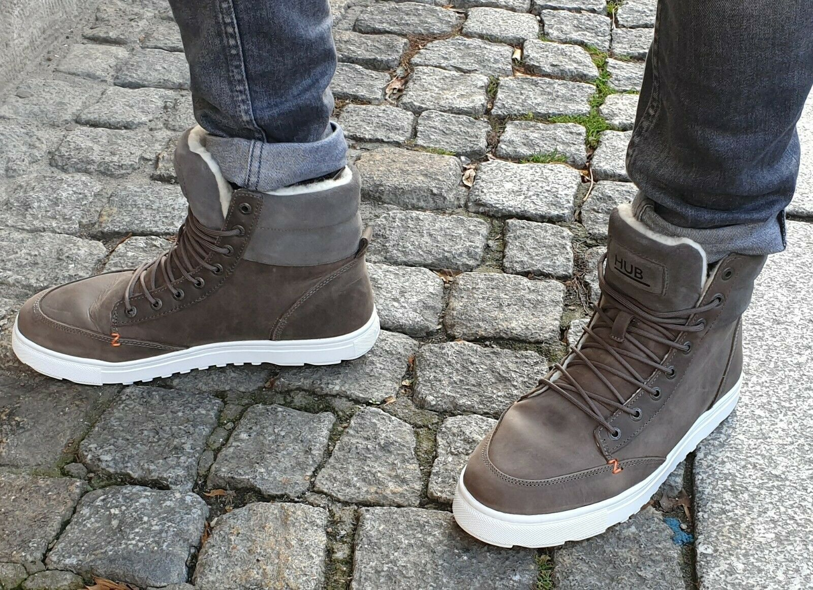 HUB FOOTWEARE Schuh Grau Dublin M2904L47-L04-005 Herren Echtleder Winterschuh