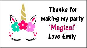 48 Pegatinas de cuerno de unicornio cabeza Etiquetas Personalizadas Bolsa Fiesta Dulce conos gracias