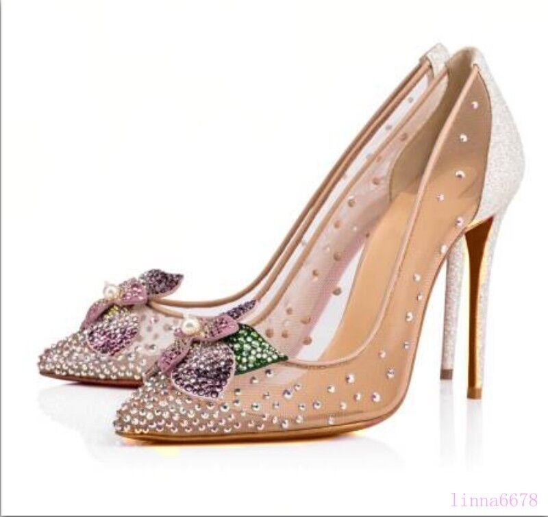 Womens Sequins Bling Crystal Flower Pearls High Stilettos Pointy Toe shoes Mesh