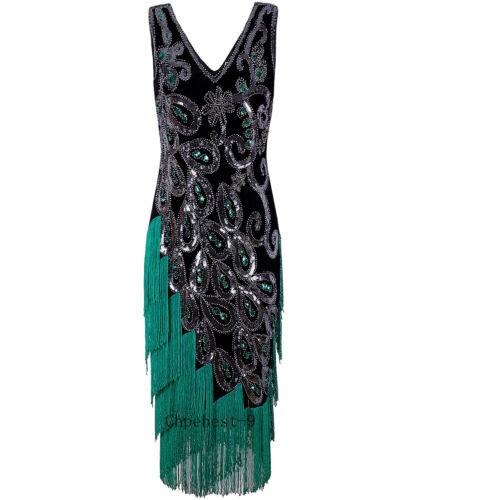 1920s aleta Vestidos Vintage Retro 20s Roaring Lentejuelas Gatsby Baile de graduación Vestidos de noche