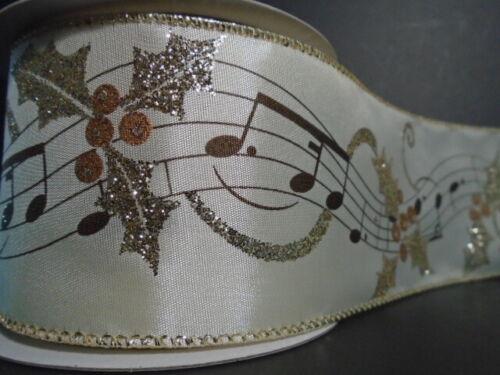 """coro Arco * * Corona Notas de la música en cinta de raso de alambre de 2.5/"""" X 5 YD Árbol De Navidad"""