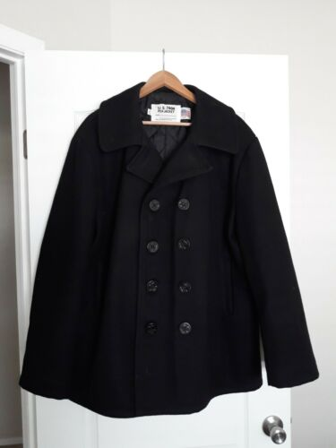 VINTAGE SCHOTT OFFICIAL NAVY WOOL PEA JACKET PEA C