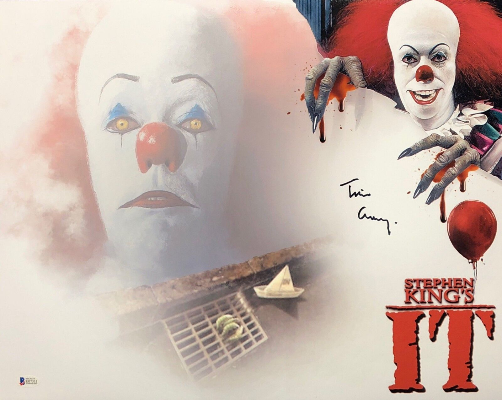 Tim Curry Signed 'Stephen King's It' 16x20 Photo *Pennywise BAS Beckett E07311