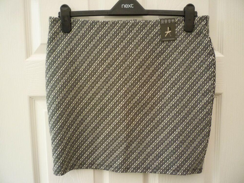 Atmosphère Femmes Noir Taille 14 White Diamond Geometric Knit Crayon Tube Jupe