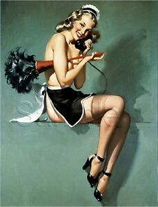 FRENCH-MAID-PIN-UP-CALENDAR-GIRL-FEATHER-DUSTER-PHONE-VINTAGE-CANVAS-ART-PRINT