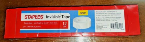 """New Staples Brand Invisible Tape Rolls 3//4/"""" x 1296/"""" 12 boxes quantity"""