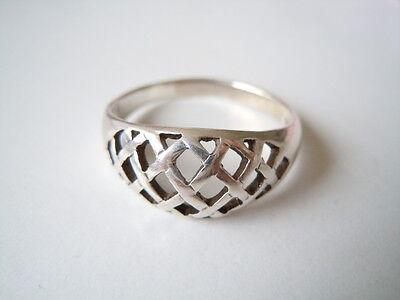 Fine Jewelry Schöner 925 Silber Ring Gittermuster Gr 63 3,5 G /breite 1,0 Cm