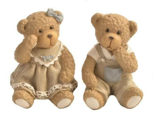 Set of 2 Classic Teddy Figurines Sitting