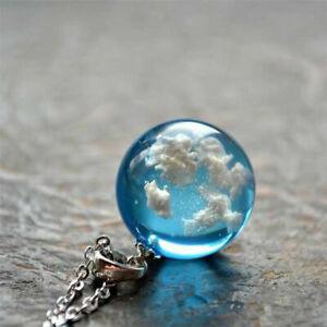 Weisse-Wolken-blauer-Himmel-Harz-Glaskugel-Anhaenger-Halskette-Glas-Ball-Schmuck