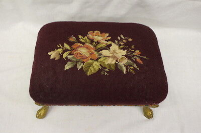 Vintage Victorian Needlepoint Floral Rectangular Footstool W/cast Lion Head Legs Excellent Quality Antiques
