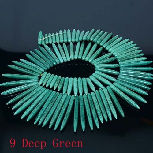 "20-50mm Howlite Turquoise Gem Stick Spike Choker Necklace Pendant Beads 18/"""