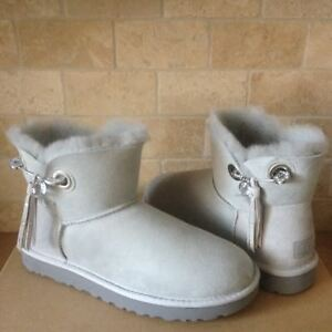 a01610dc1bd Details about UGG Josey Swarovski Crystal Bling Pin Grey Violet Suede Boots  Size 10 Womens