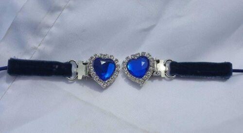 Cœur Forme Cristal Bling HORSE SHOW NUMBER HOLDER CLIP-Royal Blue Crystal