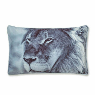 Catherine Lansfield Lion Velvet Cushion Cover or Filled Cushion Grey 30 x 50 Cm