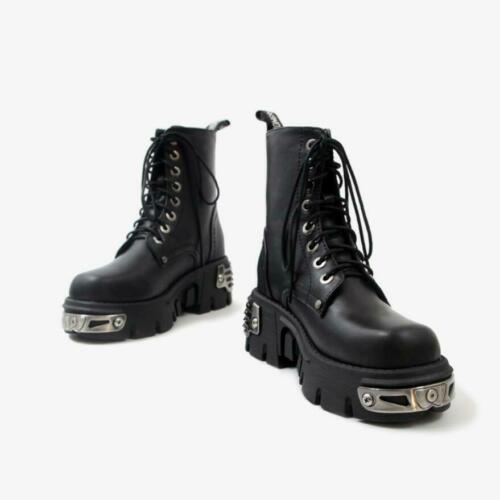 UKWomens Metallic Leather Goth Rock Punk Military Ankle Boots Biker Winter Shoes