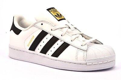 ADIDAS SUPERSTAR BA8378 BIANCO NERO Bambina Bambino Sneakers Lacci Scarpe Pelle | eBay