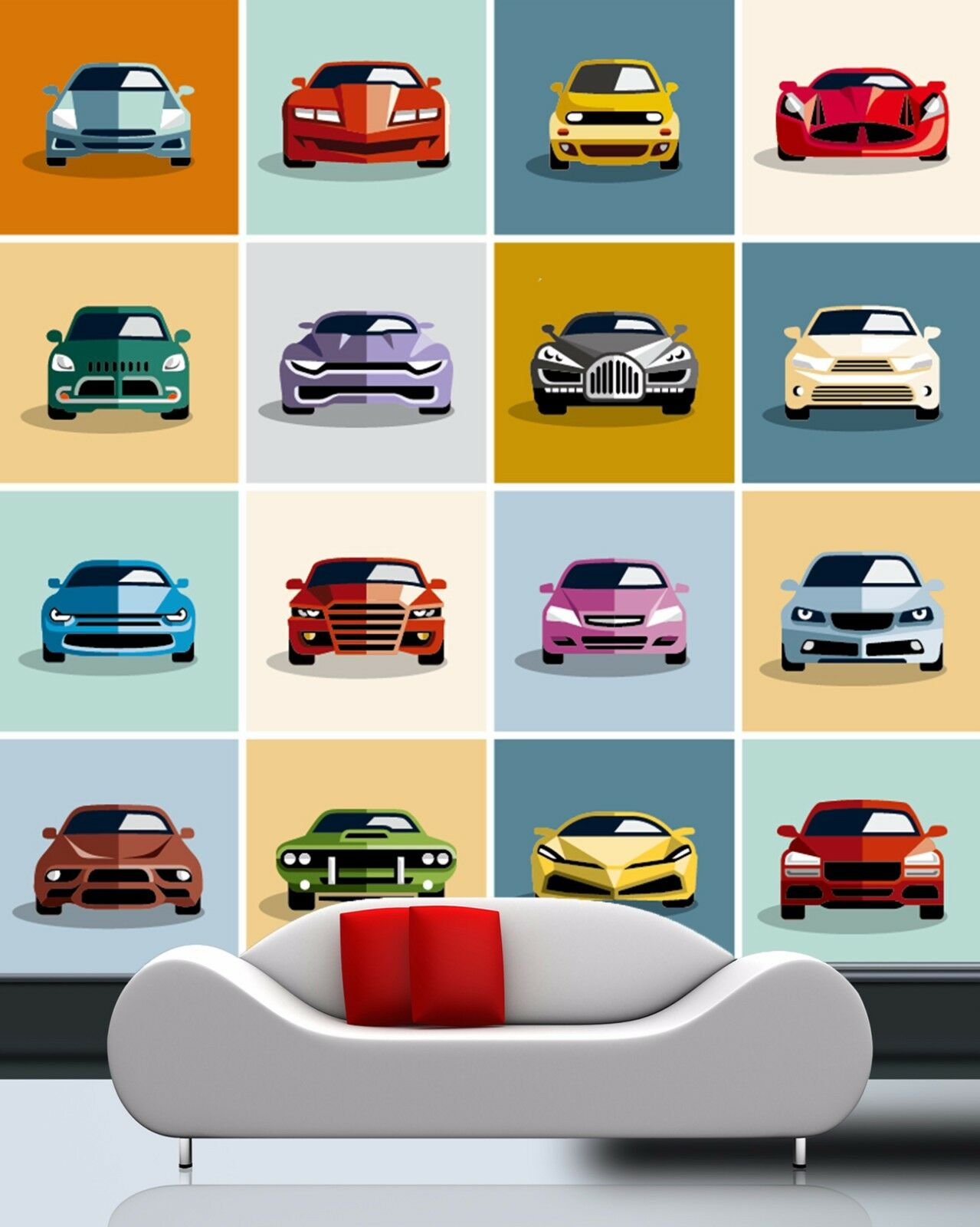 3D car Animation colorful Wall Paper Print Decal Wall Deco Indoor wall Mural