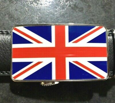 MENS DESIGNER BELTS FOR MEN AUTOMATIC LEATHER ENGLAND FLAG UNION JACK BELT UK
