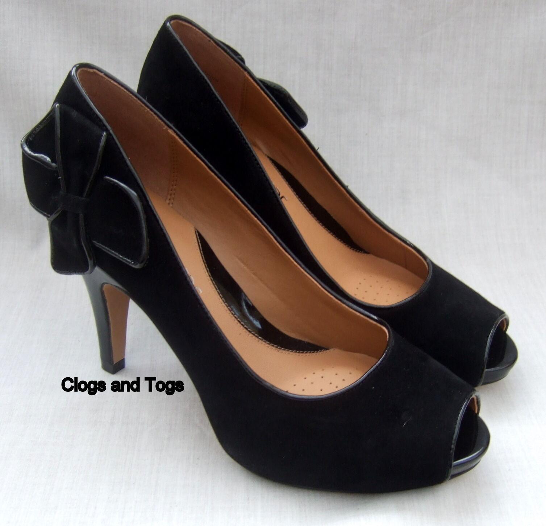Zapatos De Fiesta nuevo dólar de Mujer Clarks softwear softwear softwear De Gamuza Negra Oculta Plataforma  están haciendo actividades de descuento