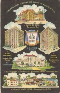 Savannah-GEORGIA-De-Soto-Hotel-ADVERTISING-J-R-Pound-Hotels-1941