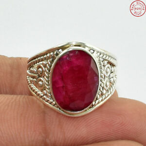 Solid-925-Sterling-Silver-Royal-Ruby-Wellmade-Top-Ring-Jewellery-US-S-8-5-A391